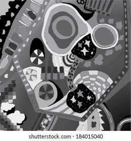 Vector illustration of black and white, greyscale graphic pattern. Childish, Willy Wonka, 70s.