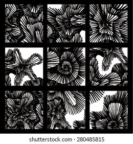 Vector illustration of black and white hand drawn graphic pattern / background. Spirals, lines, distressed, distorted, grunge image. Doodle. 6 patterns in one image.