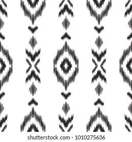 Vector illustration of black and white ikat seamless pattern. Design in ethnic style.
