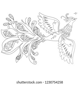 Vector illustration. Black and white image. Beautiful black and white Firebird.