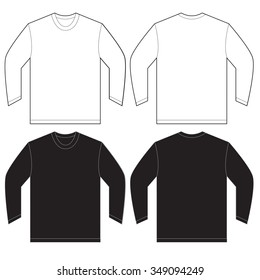 fbc203c2e86a Vector illustration of black and white long sleeved t-shirt, isolated front  and back