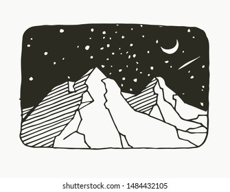 Vector illustration with black and white mountain landscape. Night sky in linocut style. Beautiful of nature. Hand drawn sketch.