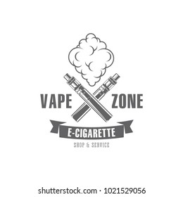 Vector illustration black and white retro badges and emblem on a white background, on a theme of smoking electronic cigarettes with a vape image, for print, outdoor advertising and web design