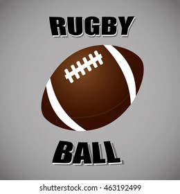 Vector illustration of black & white rugby ball