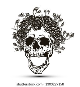 Vector illustration of black and white screaming skull with crown of roses isolated on white background.
