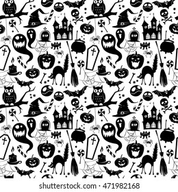 Vector illustration Black and white seamless background abstract pattern for halloween with pumpkin,  candy, ghost, spider, bat, witch hat, cat, owl, castle, scull,  bones. Flat silhouette style