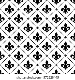 Vector illustration black and white seamless background with lily (fleur de lis) for print fabric or  poster