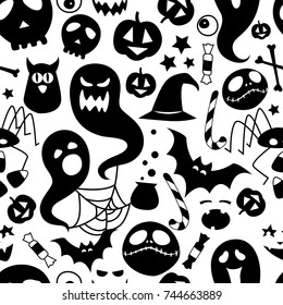 Vector illustration Black and white seamless background abstract pattern for halloween party with pumpkin, candy, ghost, spider, bat, witch hat, cauldron, owl, skull, bones. Flat silhouette style