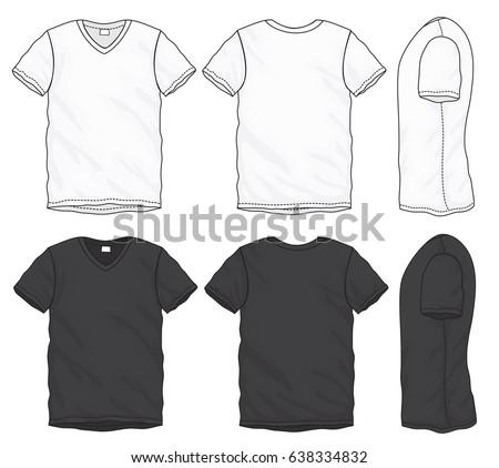 c5323cb5aba Vector Illustration Black White Short Sleeved Stock Vector (Royalty ...