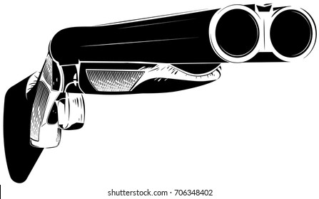 Vector illustration black and white shotgun isolated background. Hunting gun