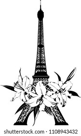 Vector illustration of black and white sketch with symbol of Paris eiffel tower with lily flower