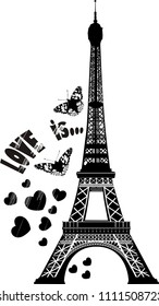 Vector illustration of black and white sketch with symbol of Paris eiffel tower with the inscription love is and sketches of hearts and two butterflies