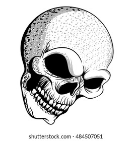 Vector Illustration of a black and white smokey ashy skull.