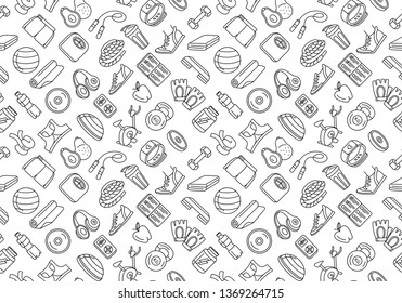 Vector illustration Black and white thin line Sport, fitness, functional training background seamless hand drawn doodle icons style pattern. Gym sport objects: workout, tabata, cross fit, yoga, run