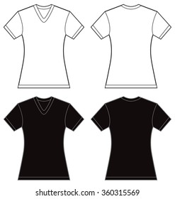 Vector illustration of black and white women's v-neck shirt, front and back design, isolated on white
