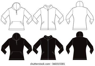Vector illustration of black and white women's hooded sweatshirt, front and back design, isolated on white