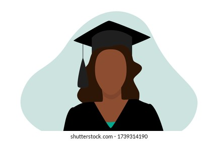 Vector illustration of black woman in graduation cap with tassel and gown with green shirt under and an abstract blob behind, isolated on white background. Great for graduate celebrations and banners.