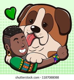 Vector illustration of a black woman hugging a big St. Bernard dog. Cartoon drawing with green halftone background.