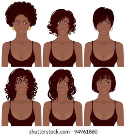 Vector Illustration of Black Women Faces. Great for avatars,  hair styles of African American women.