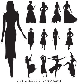 Vector illustration of black women silhouettes