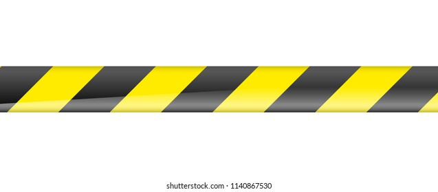 Vector illustration of Black and yellow Black and yellow caution barrier tape