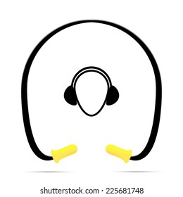 Vector illustration of black and yellow safety banded ear plugs
