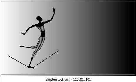 Vector illustration of a black young thin lean silhouette athlete gymnast aerial acrobat in a sport suit with an abstract metallic glowing geometric triangle  walking along a tightrope monochrome bw
