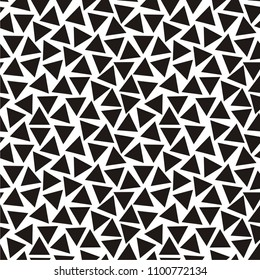 Vector illustration of black-and-white seamless pattern with triangles