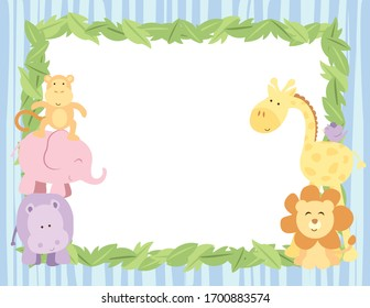 A vector illustration of a blank background card featuring African safari animals around an empty frame with blue stripes
