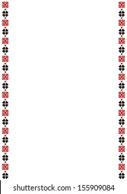 vector illustration of blank banner, framed with red and black geometric pattern