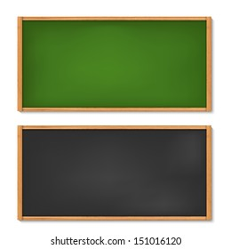 Vector illustration of blank black and green chalkboard with wooden frame
