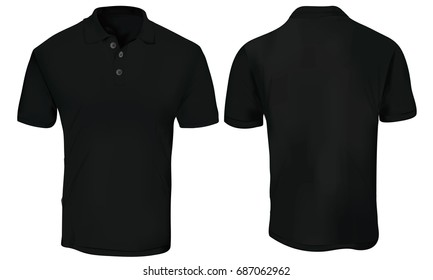 Vector illustration of blank black polo t-shirt template,  front and back design isolated on white