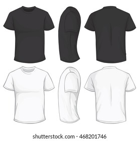 Vector illustration of blank black and white men t-shirt template, front, side and back design isolated on white