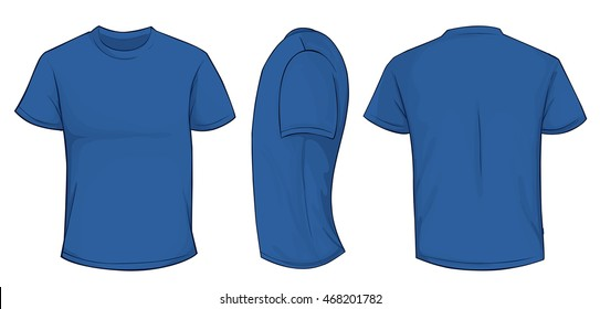 Vector illustration of blank blue men t-shirt template, front, side and back design isolated on white