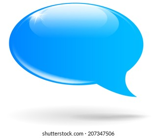 Vector illustration of blank blue speech bubble