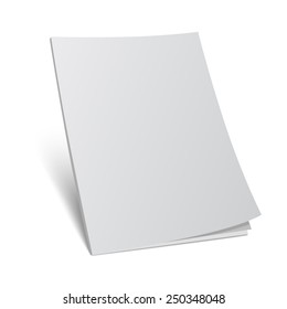 Vector illustration. Blank cover magazine template.3d book with blank cover.