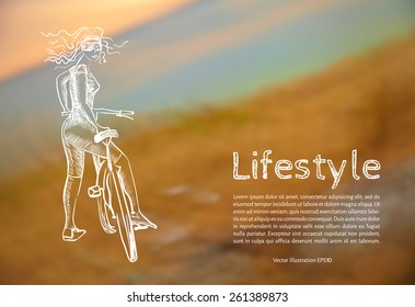 Vector illustration. Blank. Lifestyle. Sketch athletic girl with a bicycle with the text on the background of blurred photos of the sunset.