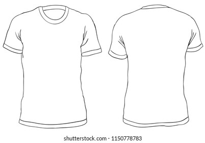 Blank Mens T Shirt Front And Back Views Simple Outline