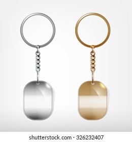 Vector illustration of a blank metal oval keychain with a ring for a key, Isolated on a white background. Ideal template for branding, identity guidelines and promo campaigns.