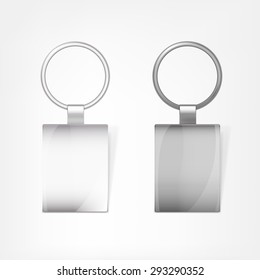 Vector illustration of a blank metal rectangular keychain with a ring for a key, Isolated on a white background. Ideal template for branding, identity guidelines and promo campaigns.