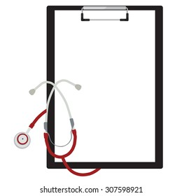 Vector illustration of blank paper in clipboard with stethoscope. Medical concept.