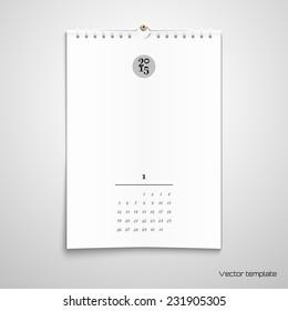 Vector illustration. Blank paper spiral calendar. Realistic shadows.