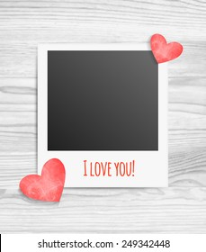 Vector illustration of blank photo frames inscription I love you and hearts on white wood background