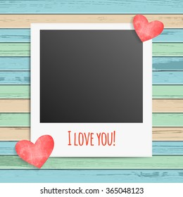 Vector illustration of blank photo frames inscription I love you and hearts on wood background