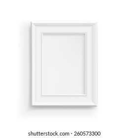 Vector Illustration of a Blank White Picture Frame