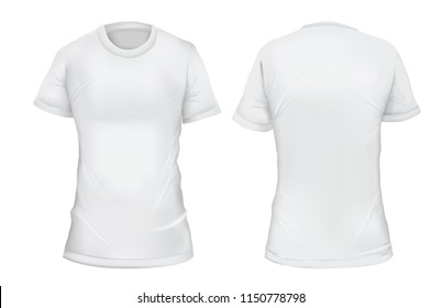 Vector illustration. Blank women's t-shirt, front and back views. Gradient mesh shirt design. Isolated on white