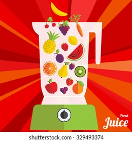 Vector illustration with blender and fruits in flat style.