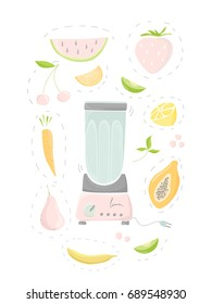 Vector illustration with blender and fruits. Fresh smoothie, healthy drinks. Cartoon fruits.