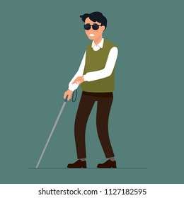 vector illustration a blind man walking with stick