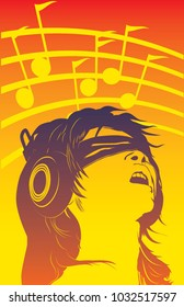 A vector illustration of a blindfolded woman listening to music in a state of ecstasy.  11x17  aspect ratio(perfect  for printing),  overlapping gradients, and a simple modern  color scheme.